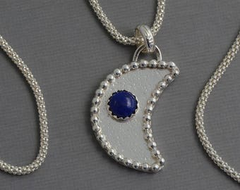 Crescent moon necklace sterling silver half moon pendant moon jewelry lunar moon navy blue lapis lazuli necklace artisan yoga jewelry