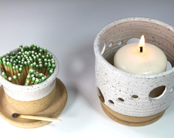 Ceramic Match Striker Set  Fireplace accessories  and candle holder In White Stock Ready to Ship