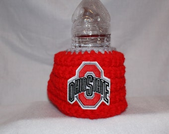 Ohio State Drink Mitt - Red and gray with an Ohio state patch