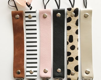 30% off SALE on Black, Platinum, Pink and Cheetah- Personalized Leather Pacifier Clips