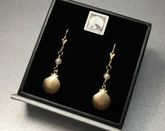 14k Gold Filled Shell & Pearl Leverback Earrings From Sitka, Alaska