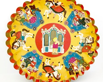 Vintage Bowl Pressed Cardboard Christmas Holiday Display Piece Candy Container Western Germany