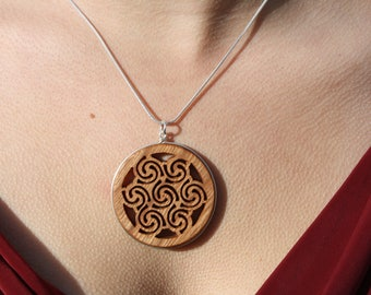 Triple Goddess Spiral Pendant, Hand-carved Celtic Spiral Wood Necklace On Sterling Silver, 5th Anniversary Gift, Unique Irish Handmade Gift