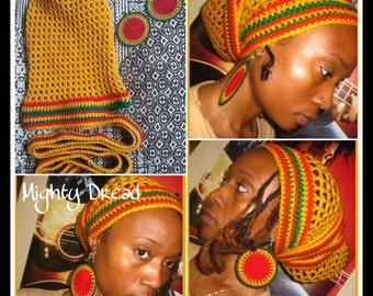 Mighty Dread Crochet Head Wrap and Earrings