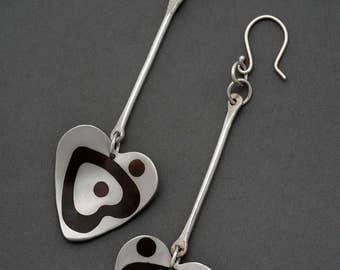 Silver and Shakudo Heart Earrings