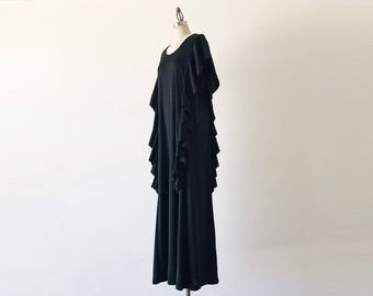 Vintage 1970s Black Sears Loungwear Long Sleeveless Ruffle Maxi Dress - L
