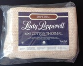 "SALE! Vintage Cotton Thermal Blanket Lady Pepperell Twin Full 72"" x 90"" Ecru NOS"