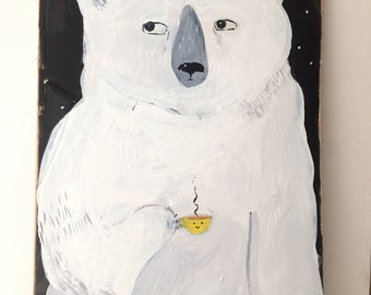 Painting on reclaimed wood of a polar bear drinking coffee