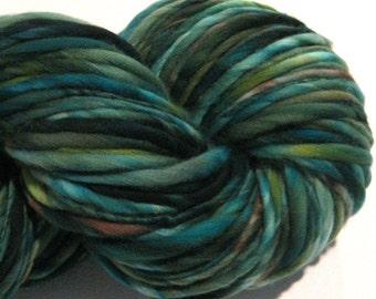Bulky Handspun Yarn, Ancient Woodland 158 yards, hand dyed merino wool, green brown yarn  waldorf doll hair, knitting supplies,crochet