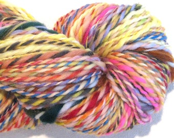Handspun Yarn Waste Not Want Not B 120 yards rainbow yarn art yarn knitting supplies crochet supplies waldorf doll hair art yarn
