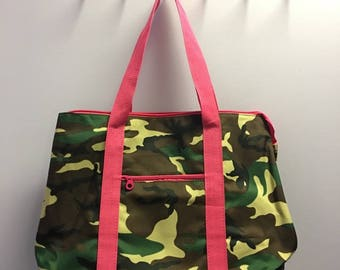 Personalized Camo With Hot Pink Accents Oversized Tote Bag