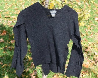 Supply - Felted Wool Sweater - Black 1 - Recycled Fabric Material