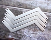 Antique Silver Plated Zigzag Connector Stampings - 6