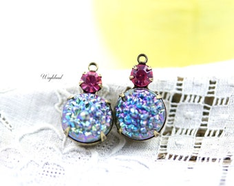 Iridescent Luster Smoked Grey & Rose Pink 18x11mm Bumpy Connector Vintage Round Rhinestone Drops Set Stones 1 Loop Brass Prong Settings - 2