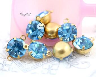 Preciosa Crystal Set Stones Vintage Glass Round Drop Connector Aquamarine 8mm - 4