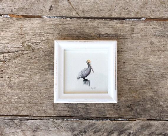Original Watercolor Tiny Painting - Pelican - Framed Miniature