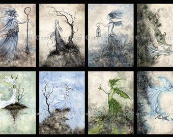 5x7 Darkwoods fairy SET by Amy Brown
