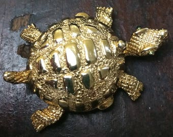 Vintage Solid Perfume Gold Plated Turtle
