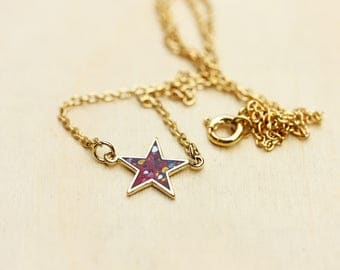 Red Star Necklace, Confetti Star Necklace, Polka Dot Necklace, Star Necklace, Enamel Necklace, Enamel Star Necklace, Gold Star Necklace