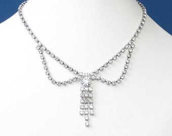 Kramer Festoon Swag Rhinestone Necklace Vintage Wedding Bridal Prom 1950s Rhinestone Jewelry