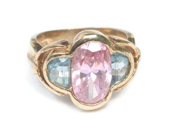 Pink and Blue Stones Sterling Ring Faceted Glass Gold Plated