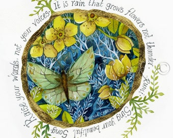Art print with quote, Raise Your Words - by Amanda Clark.  Decorative art, whimsy, butterfly, watercolour, home decor.