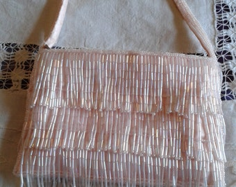 Vintage Handbag - Small Pink Sequined Retro Style Handbag/Purse