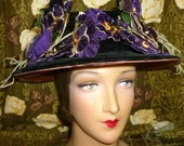 Antique Velveteen Pansy Bouquet Millinery