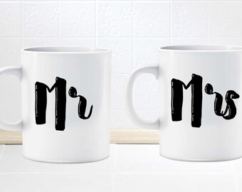 Mr and Mrs mug gift set .. wedding gifts .. bride and groom .. newlyweds.  His and Hers