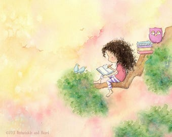 The GIRL Who WROTE STORIES - Brunette Girl With Long Curly Hair - Art Print - Children