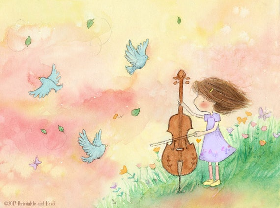 The Cellist in Spring - Girl With Cello and Bluebirds - Auburn Hair - Art Print