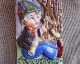 Vintage Little Boy Blue wall pocket, made in Japan