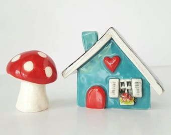 Turquoise Blue Little Clay House | Cottage | Ceramic House | Miniature House | Whimsical Fairy House | Hearthome Tiny House
