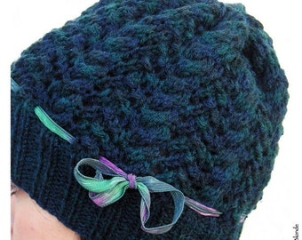 HOLIDAY SALE - Hand Knit Cables & Lace Slouch Hat, Wool Blend Yarn, Dark Teal Blue Green, Silk Ribbon