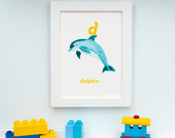 D is for Dolphin Letter Print