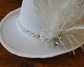 Fedora hat bridal with feathers and rhinestone cap unusual bride unique bride shower LBGT wedding