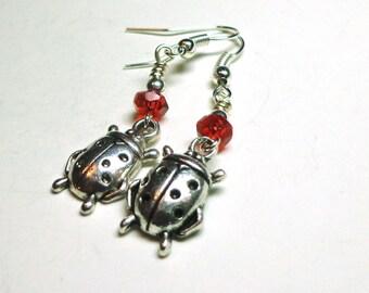 Lady Bug Earrings, Red Crystal Earrings, Silver Lady Bug Earrings, Red Glass Crystals