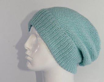 50% OFF SALE 4 Ply Unisex Moss Stitch Slouch Hat CIRCULAR knitting pattern by madmonkeyknits - instant digital file pdf download knitting pa