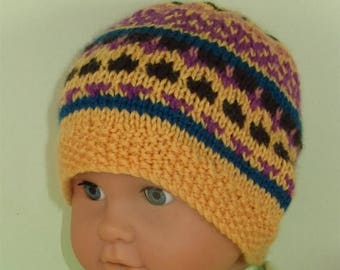 50% OFF SALE Instant Digital File PDF Download Knitting pattern - Baby and Toddler Simple Fairisle Beanie Hat pdf download knitting pattern