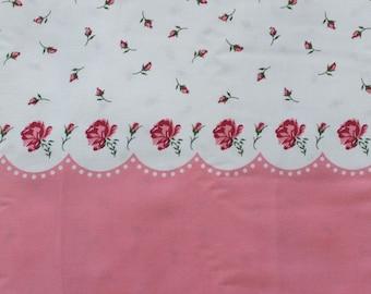 Paris Bebe Raspberry Roses Border Print Fabric