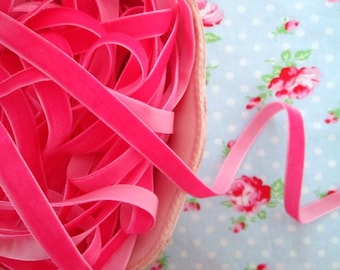 Fuchsia Pink Velvet Ribbon - 3/8 inch - 3 Yards