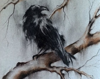 Original Crow Drawing Charcoal Black and White Art Black Raven on a Branch 12x8""