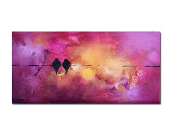 """Original Painting Birds on a Wire Abstract Valentines Romantic Wedding Art Pink Magenta Painting 5x10"""""""