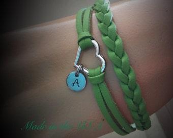 Personalized braided leather heart bracelet Initial charm bracelet Layered bracelet Friendship bracelet  Love bracelet Gift for Her