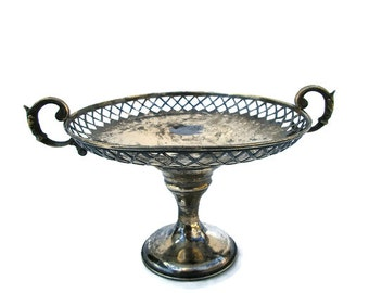 Antique Coin Silver Handled Pedestal Trinket Candy Dish Tray Filigree