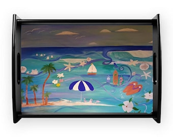 The beach serving tray from my art, available in 2 sizes