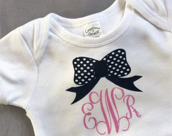 Bow monogram onsie bodysuit tshirt 6-12 months navy and pink