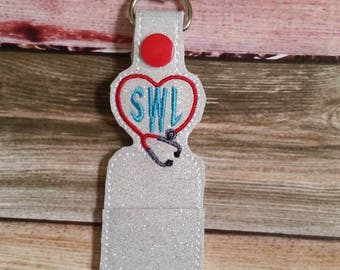 Stethescope heart - lip balm holder - key chain - gift for nurse - lip balm cozy - monogram - personalized - health care gift