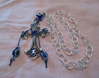 Silver Blue Cross with Eye of God Bead Accents on Silver Chain
