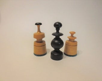 Vintage chess pieces-  wooden vintage modern